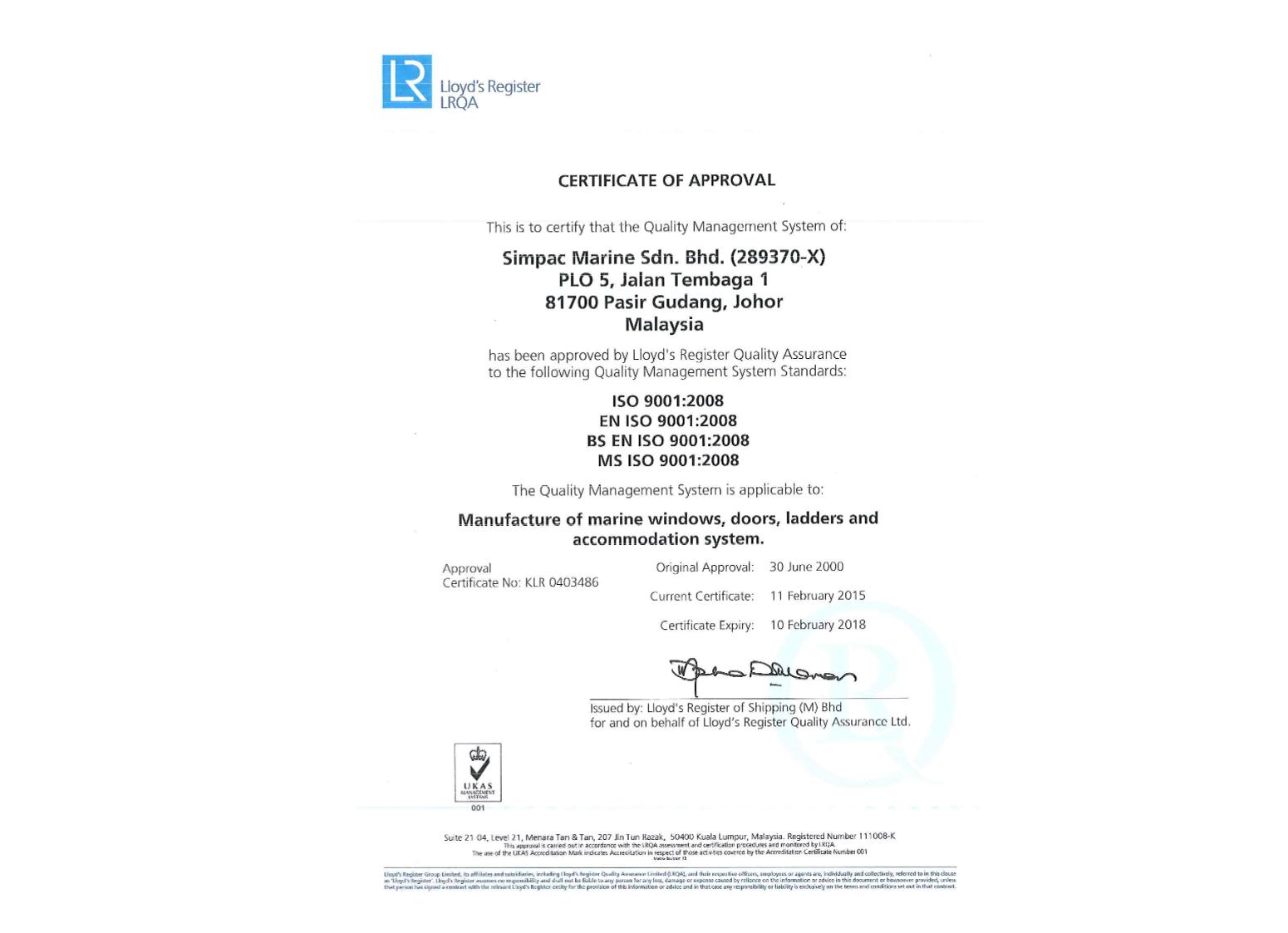 ISO 9001 : 2008 (Malaysia)