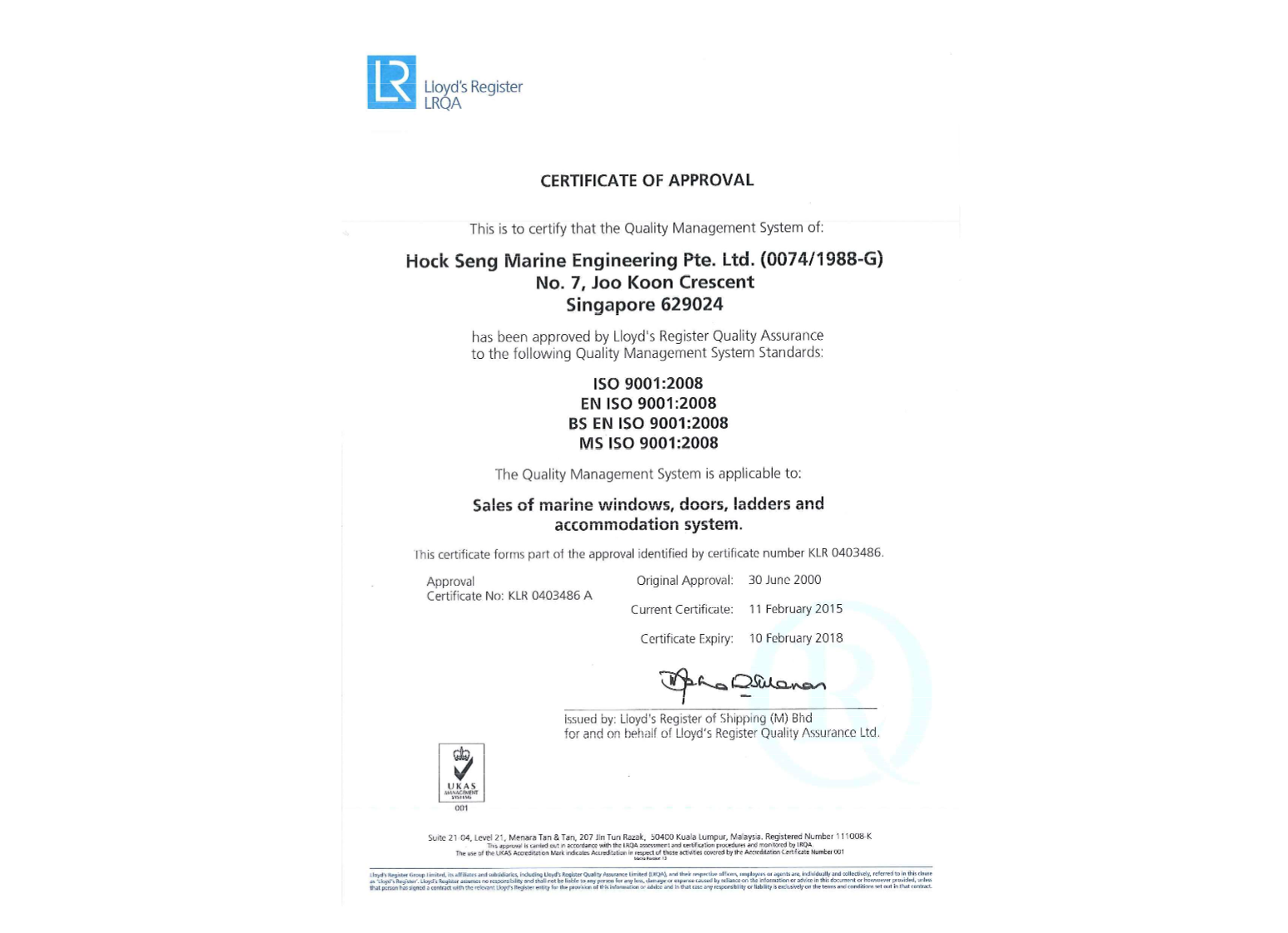 ISO 9001 : 2008 (Singapore)